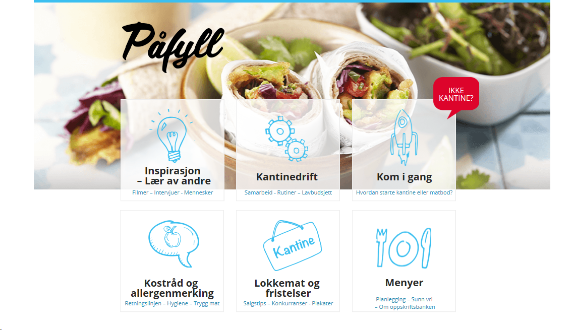 Helsedirektoratet: Påfyll – e-læringskurs for driftere av kantiner/matboder i ungdomsskoler